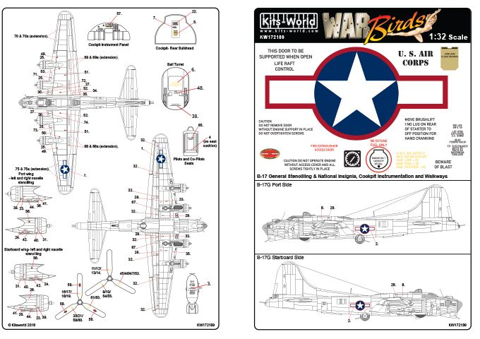 Kits-World Decals 1/72 Boeing B-17F/B-17G Flying Fortress Red Outlined Stars & Bars # 72189