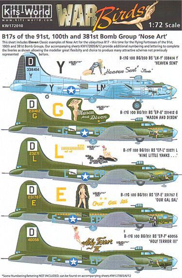 Kits-World Decals 1/72 Boeing B-17F/G Flying Fortress 91st, 100th, 381st BG Nose Art # 72010