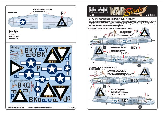 Kits-World Decals 1/72 Boeing B-17G Flying Fortress # 72162