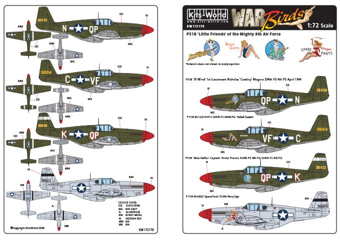 Kits-World Decals 1/72 North-American P-51B Mustang # 72178