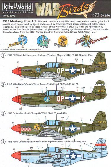 Kits-World Decals 1/72 North-American P-51B Mustang Nose Art 336th/334th FS 4FG # 72002