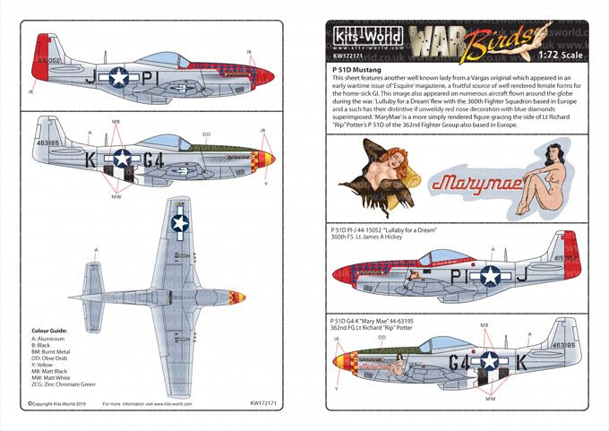 Kits-World Decals 1/72 North-American P-51D Mustangs # 72171