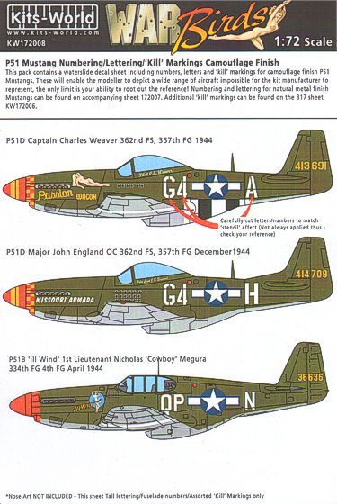 Kits-World Decals 1/72 P-51B/C/D Mustang ID Numbers, Letters & Kill Markings Camouflage Finish # 720