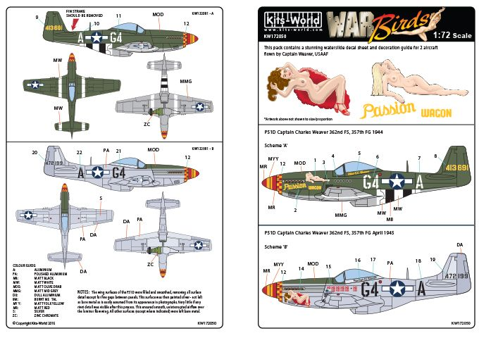 Kits-World Decals 1/72 P-51D Mustang Capt. Charles Weaver Passion Wagon # 72050