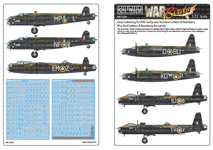 Kits-World Decals 1/72 RAF Bomber - Light Grey & Red Letters/Numbers for Serials # 72204