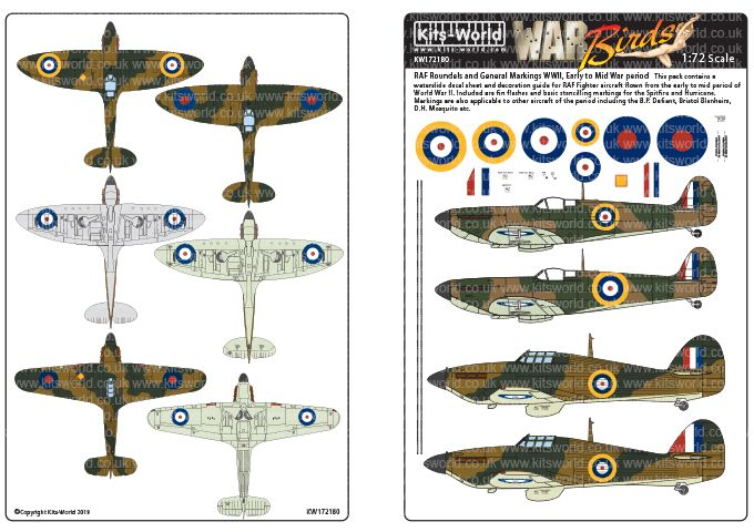 Kits-World Decals 1/72 RAF Early War Fighter Roundels 1939 - Early 1942 # 72180