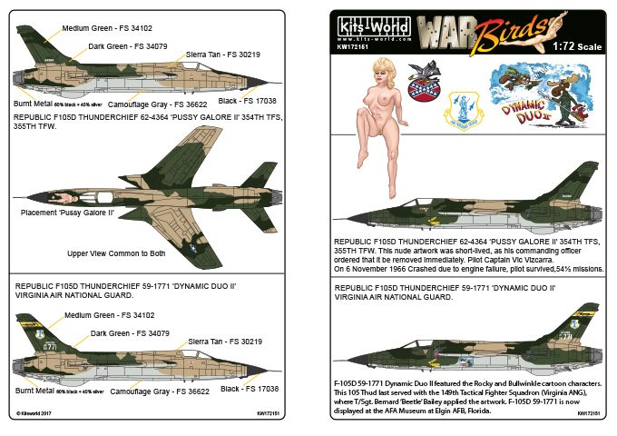 Kits-World Decals 1/72 Republic F-105D Thunderchief 'Pussy Galore II' - Dynamic Duo' # 72151