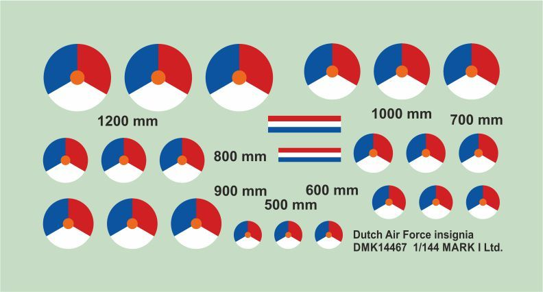Mark I Decals 1/144 Dutch Air Force Insignia (2 Sets) # 14467