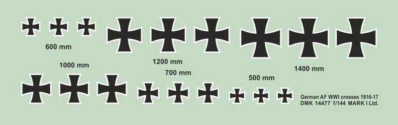 Mark I Decals 1/144 German Air Force WWI Crosses 1916-17 (2 Sets) # 14477