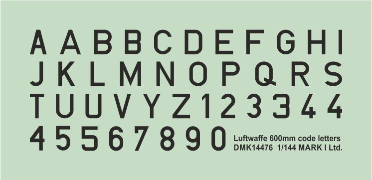 Mark I Decals 1/144 Luftwaffe Code Letters - Black 600mm (2 Sets) # 14476