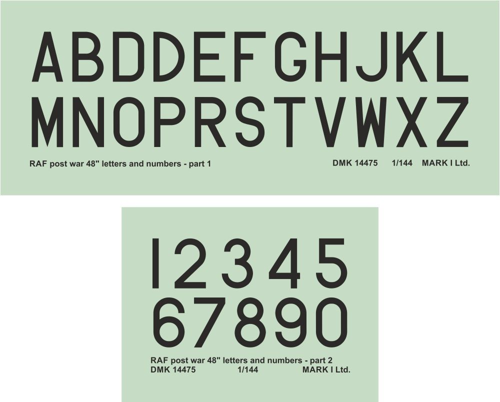 "Mark I Decals 1/144 RAF Post War 48"" Black Numbers & Letters (2 Sets) # 14475"