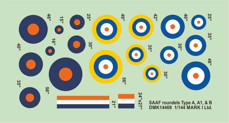 Mark I Decals 1/144 RSAF Roundels Type A, B (2 Sets) # 14469