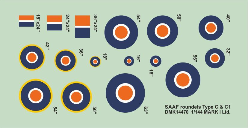 Mark I Decals 1/144 RSAF Roundels Type C, C1 (2 Sets) # 14470