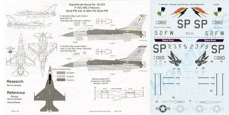 Microscale 1/32 F-16C-50CJ Big Mouth 52nd FG Spangdahlem # SS32223