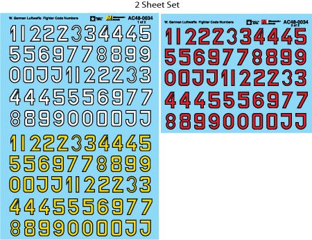 Microscale 1/48 Luftwaffe Fighter Code Numbers # MS48034