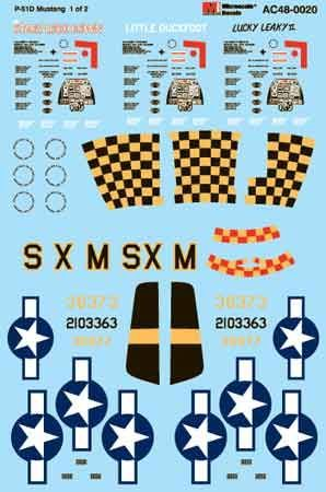 Microscale 1/48 P-51 Mustang The Stars Look Down, Lucky Leaky II, Little Duckfoot # MS48020
