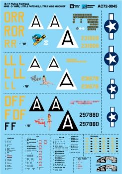 Microscale 1/72 B-17G Flying Fortress - Nine-O-Nine, Little Patches, Little Miss Mischief  # MS72045