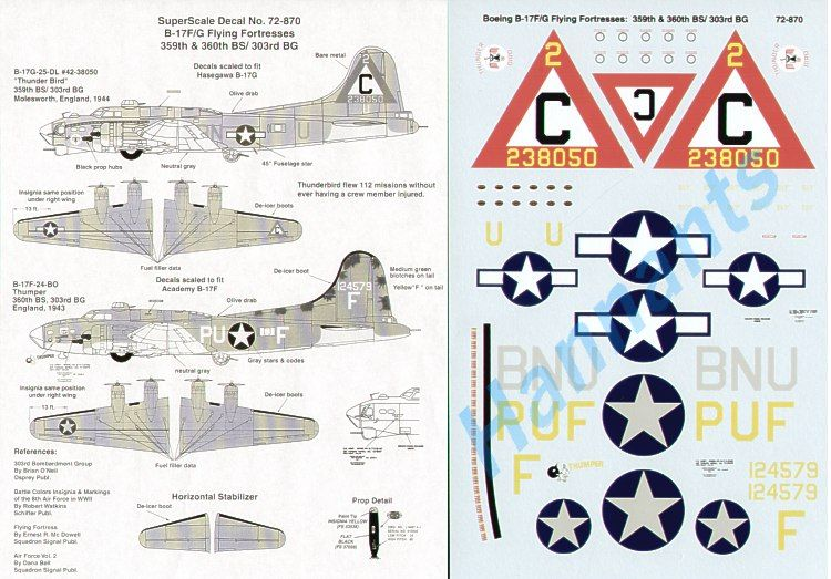 Microscale 1/72 Boeing B-17F/B-17G Flying Fortress 8th Air Force # SS72870