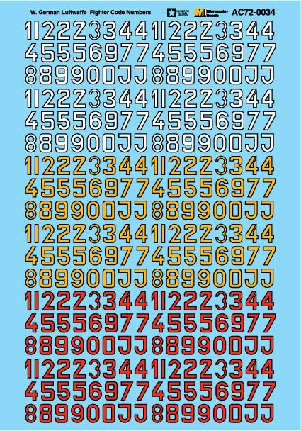 Microscale 1/72 Luftwaffe Fighter Code Numbers # MS72034