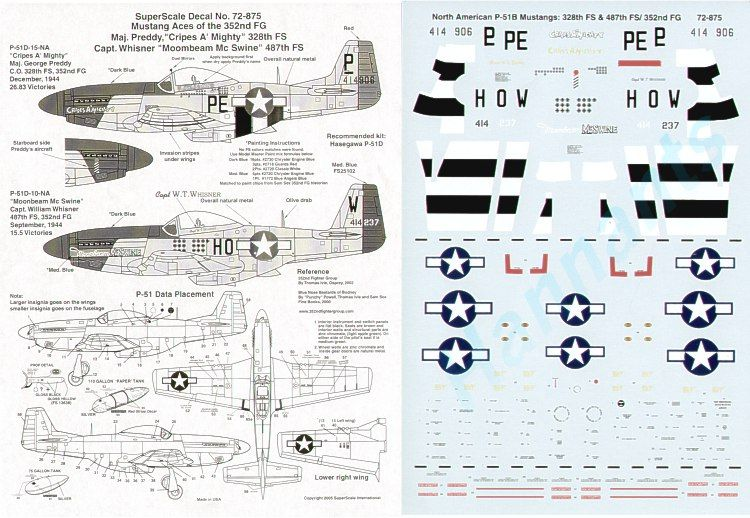 Microscale 1/72 North-American P-51D Mustang Aces of the 352 FG # SS72875