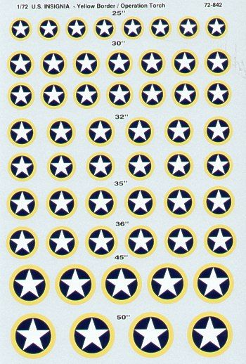 Microscale 1/72 U.S. National Insignia Operation Torch with Yellow Border # SS72842