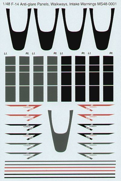 Microscale Decals 1/48 F-14 Anti-Glare Panels, Walkways & Intake Warnings # MS48001