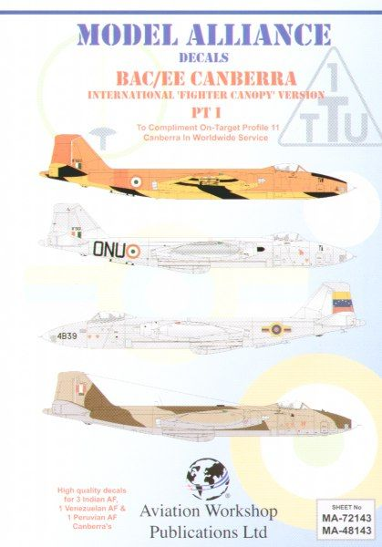 Model Alliance 1/48 BAC/EE Canberra Part 1 B(1)58 Fighter Canopy Versions in Foreign Service # 48143