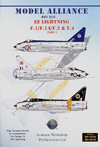 Model Alliance 1/72 BAC/EE Lightning F.1/F.1A/F.2 and BAC/EE Lightning T.Mk.4 Part 5 # 72183