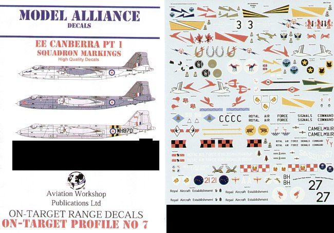 Model Alliance Decals 1/48 BAC/EE Canberra Squadron Markings Only Part 1 # 48127