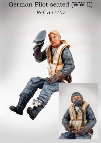 PJ Productions 1/32 Luftwaffe Pilot WWII seated in aircraft with optional helmet or hat # 321107