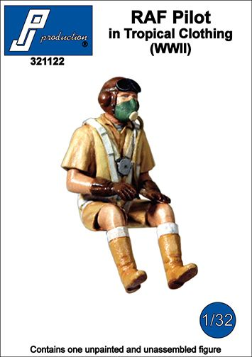PJ Productions 1/32 RAF Pilot in Tropical Clothing Seated in A/C (WWII) # 321122