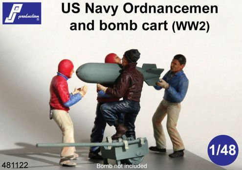 PJ Productions 1/48 US Navy Ordnancemen and Bomb Cart WWII # 481