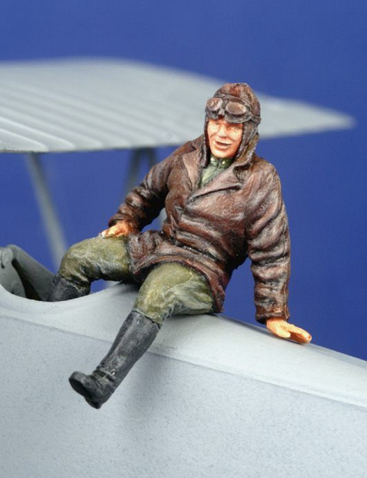 PJ Productions 1/48 WWI Pilot seated outside aircraft # 481117