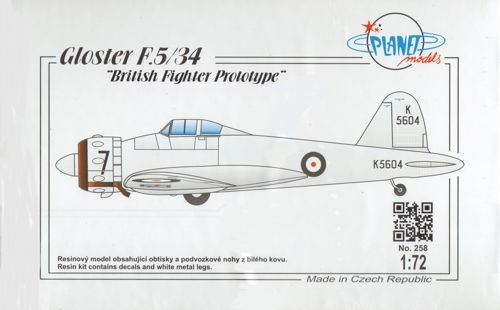 Planet 1/72 Gloster F.5/34 British Fighter Prototype # 258