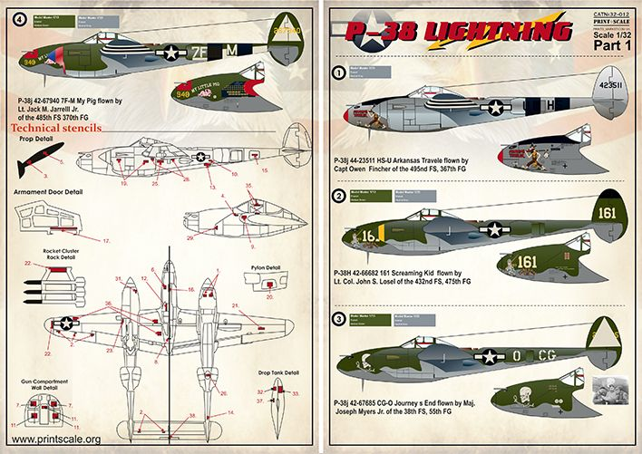 Print Scale 1/32 Lockheed P-38H/P-38J Lightning Part 1 # 32012