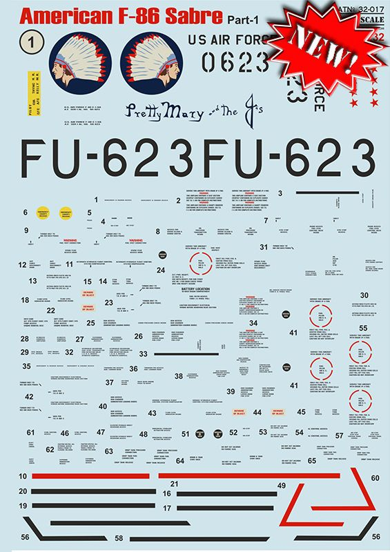 Print Scale 1/32 North-American F-86E Sabre Part 1 # 32017