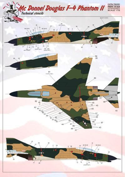 Print Scale 1/72 McDonnell F-4 Phantom Stencil Data up to Three Aircraft in SEA Camouflage # 72031
