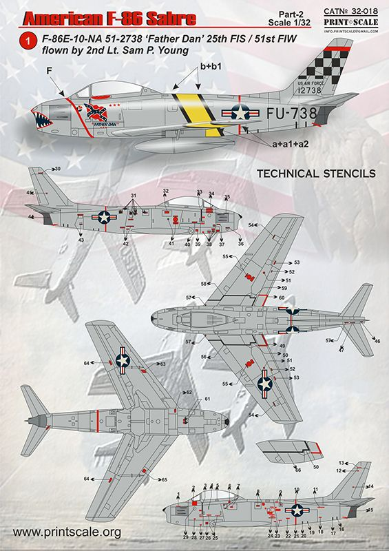 Print Scale Decals 1/32 North-American F-86E Sabre Part 2 # 32018