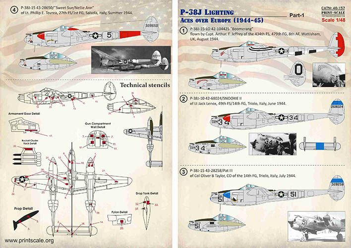 Print Scale Decals 1/48 Lockheed P-38J Lighting Aces over Europe (1944-45) Part 1 # 48157