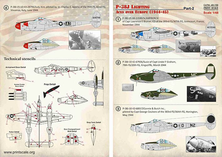 Print Scale Decals 1/48 Lockheed P-38J Lighting Aces over Europe (1944-45) Part 2 # 48158