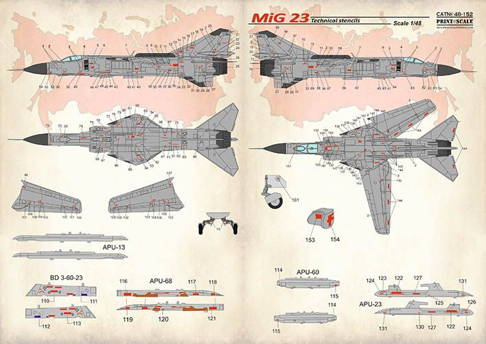 Print Scale Decals 1/48 Mikoyan MiG-23 Technical Stencils # 48152
