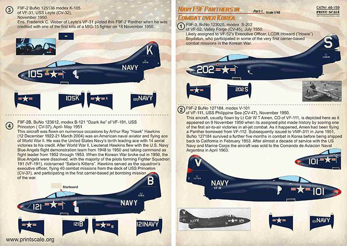 Print Scale Decals 1/48 Navy Grumman F9F-2/F9F-3 Panthers in Combat over Korea Part 1 # 48159