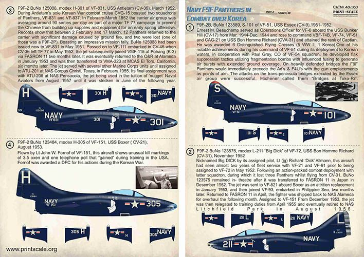 Print Scale Decals 1/48 Navy Grumman F9F-2/F9F-3 Panthers in Combat over Korea Part 2 # 48160