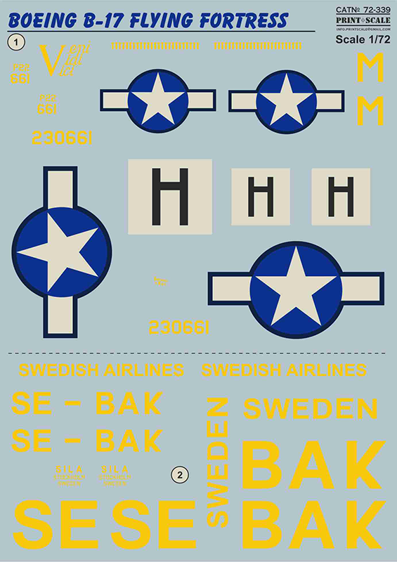 "Print Scale Decals 1/72 Boeing B-17F Flying Fortress ""Veni. Vidi. Vici"" # 72339"