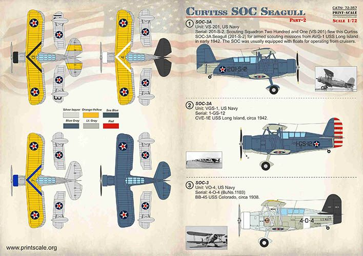 Print Scale Decals 1/72 Curtiss SOC Seagull Part 2 # 72357