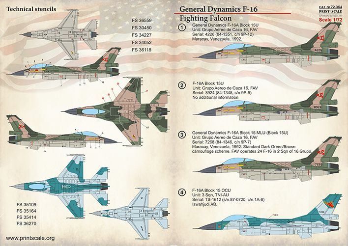Print Scale Decals 1/72 F-16 Fighting Falcon # 72364