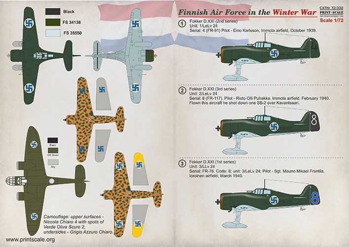 Print Scale Decals 1/72 Finnish Air Force in the Winter War # 72332