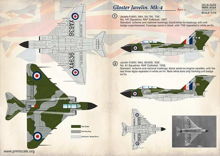 Print Scale Decals 1/72 Gloster Javelin Mk-4 Part 3 # 72374