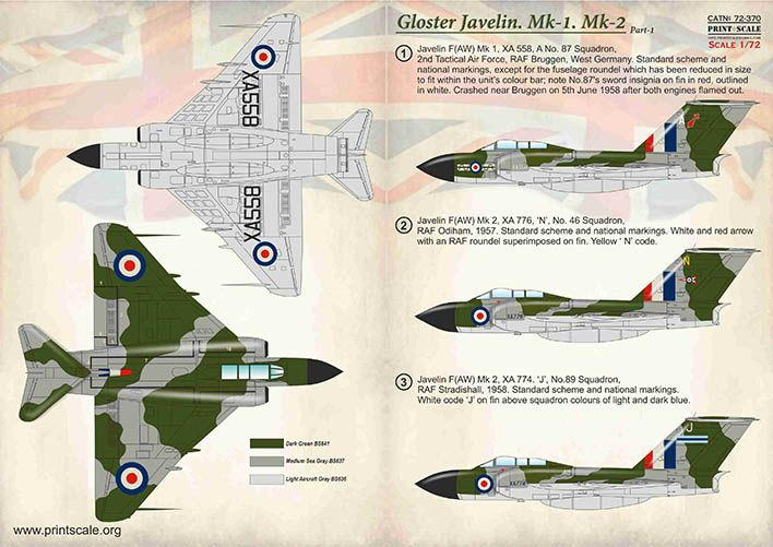 Print Scale Decals 1/72 Gloster Javelin Mk.1 & Mk.2 Part 1 # 72370