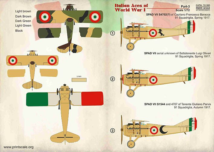 Print Scale Decals 1/72 Italian Aces of WWI Part 3 # 72360